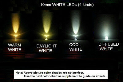 *USA* 20x 1-4 kinds 10mm Ultrabright White LEDs (Warm,Daylight,Cool & Diffused)
