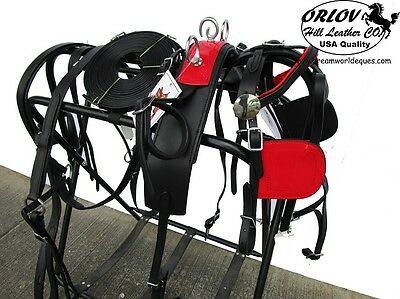 Red Mini Miniature Show Parade Drawn Driving Pleasure Horse Cart Leather Harness