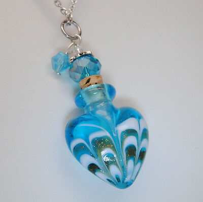 Heart Cremation Jewelry Blue Cremation Urn Necklace Pendant Memorial Keepsake