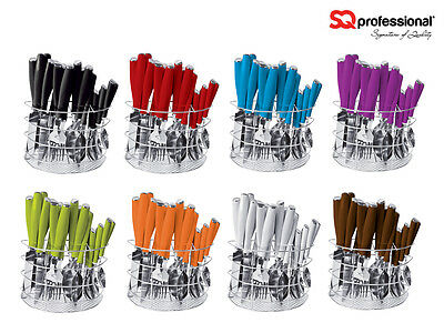 SQ Professional 24PC Stainless Steel Kitchen Cutlery Set Fork/Spoon Multi Colour