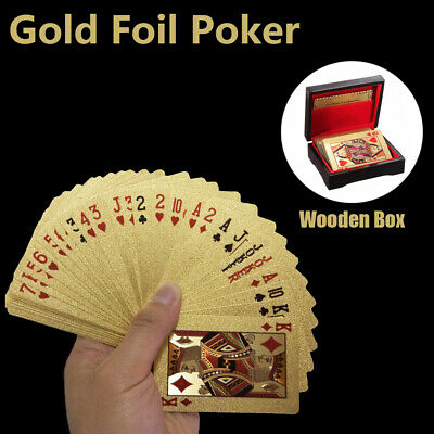99.9% 24k Genuine Gold Plated Playing Cards Poker With Wooden Box 4 Christmas AU