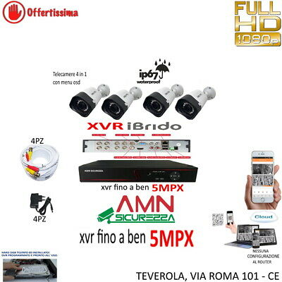 Kit Videosorveglianza Ip Cloud Dvr + 4 Telecamere 3Mpx Full Hd + Cavi 20Mt +Alim