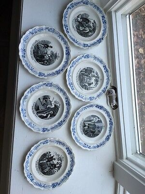 HBCM Montereau Made In France Stamped Vintage Plates Lot Of 6 A La Champagne