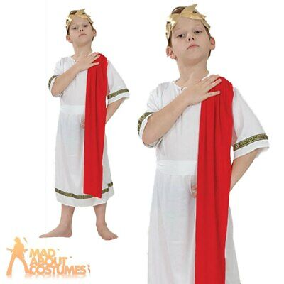Child Roman Emperor Costume Greek Toga Boys Book Week Day Fancy Dress Outfit New