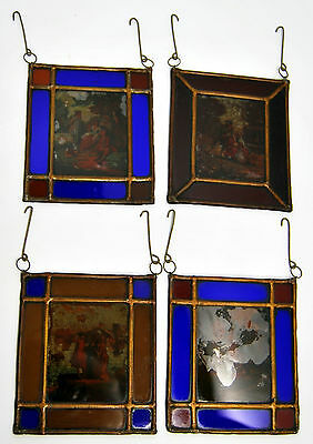 Stained Glass for small Lantern French romantic scenes in 1900 5 1/4 x 4 1/2