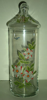 """Clear 11"""" Tall Apothecary Style Jar With Flowers"""