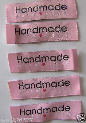 """LOT OF 20 """"HANDMADE WITH LOVE """" SEW ON WOVEN LABELS craft scrapbook sewing tag"""