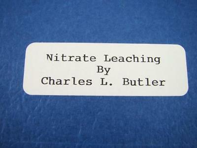 """How To """"Nitrate Leaching"""" Book by Charles L. Butler-Gold--Formulas-Drawings"""