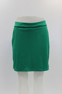 New With Tags Greg Norman Womens Ribbon Trim Knit Golf Skort In Green/navy