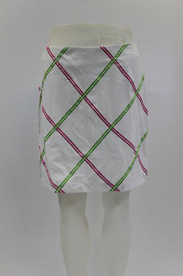 New With Tags Greg Norman Womens Ribbon Trim Skort In White/pink/green, Size 6
