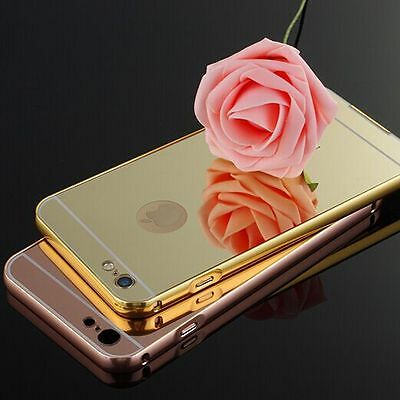 Luxury Aluminum Ultra-thin Mirror Metal Case + Tempered Glass Screen Protector
