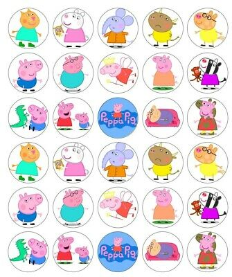 30 x Peppa Pig Edible Images wafer Cupcake Cake toppers