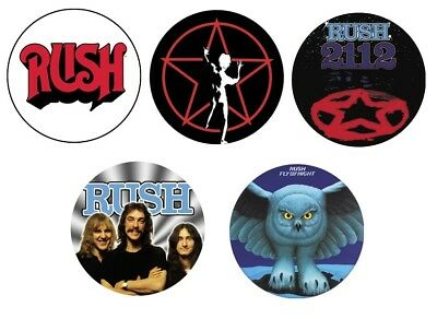 Rush 5 Button Badge Set Official Metal Badges 2112 Fly By Night Starman Logo New