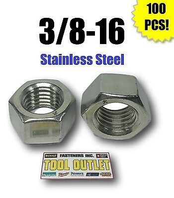 """(Qty 100) 3/8-16 Stainless Steel Finished Hex Nuts 304 / 18-8 3/8""""-16"""