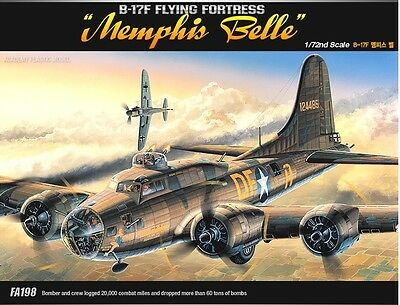 Academy 1/72 Plastic Model Kit B-17F Flying Fortress Memphis Bell 12495 NIB