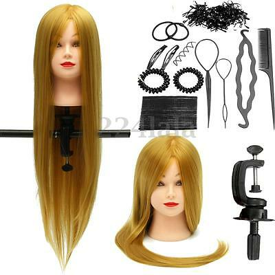 "26"" Human Hair Training Practice Head Mannequin Hairdressing + Braid Tool Set"