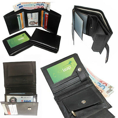 Men Wallet LEATHER ID Pocket Black Soft Coin Pouch Section Money Purses Gents