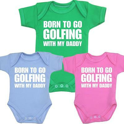 BabyPrem Baby Clothes GOLF Golfing Daddy Bodysuit One-Piece Vest Shower Gifts