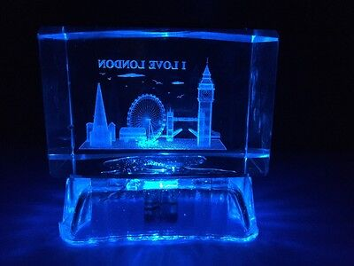 London 3D Skyline Crystal  With Colourful Changing Lights  England Souvenir Gift