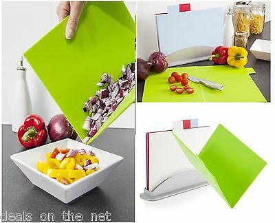 4 Pc Foldable Chopping Cutting Board Set & Holder Assorted Colour Cook Incolour
