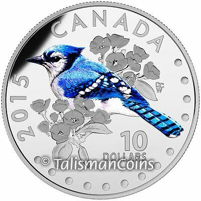 Canada 2015 Colorful Songbirds Birds Canada #3 Blue Jay $10 Silver Proof Color