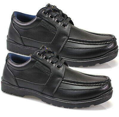 Mens Black Lace Up Smart Shoes Formal Dress Office Work Casual Boots Uk Sizes