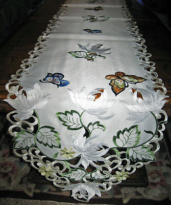 "Colorful Butterfly Lacy Embroidered Easter & Spring Decor Table Runner 68""x 12"""