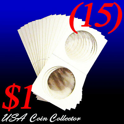 (15) Large Dollar Size 2x2 Mylar Cardboard Coin Flips for Storage | $1 Holder