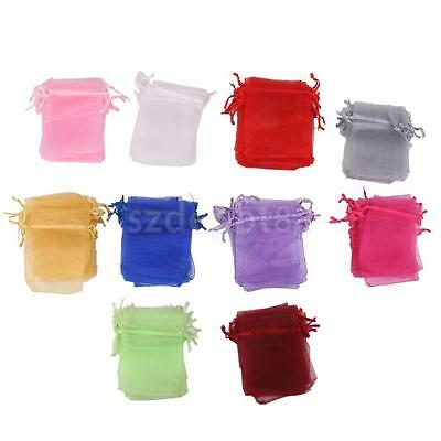 100 Assorted Organza Bag Wedding Favors Gift Drawstring Jewelry Pouch 7x9cm