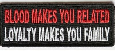 Biker Vest Patches Blood Makes You Related Sew/Iron Motorcycle Rider Leather