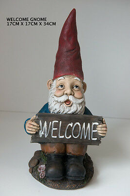 Outdoor Garden Resin Animal Gift Ornament Sitting Welcome Sign Gnome Red Hat