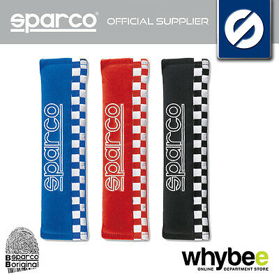 01090S4 Sparco Sport Seat Belt Harness Pads Chequered Design (Pair) - 3 Colours!