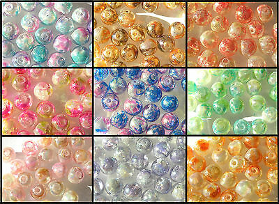 50 8mm Pearlised AB Glass Beads Assorted Choice of Colours MORE IN MY SHOP