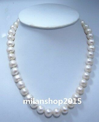 "18"" 11-12 MM SOUTH SEA NATURAL White PEARL NECKLACE 14K GOLD CLASP"