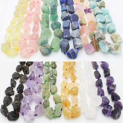 """18-36mm Rough Natural Stone Freeform Beads For Jewelry 15"""",Amethyst,Amazonite,"""