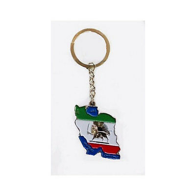 Iran Country Shape Flag With Silver Lion Metal Keychain .. New
