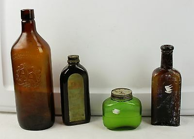 Lot of 4 Vintage Colored Glass Bottles Amber & Green Lady Helen Hair Balsam