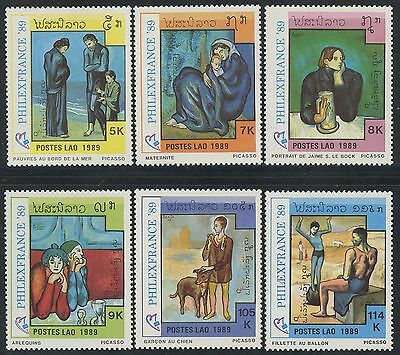 "LAOS N°919/924** Tableaux Picasso ""Philexfrance 89"", 1989 Paintings set MNH"