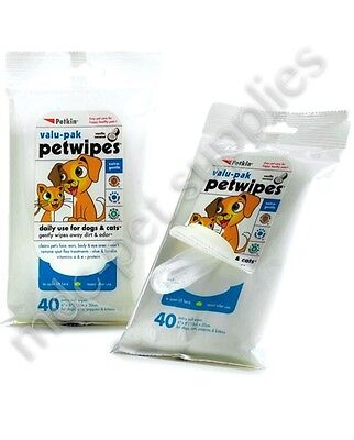 PET WIPES - Dog Cat Eco Soft Cleaning Wet Wipe Clean Tidy Wash Puppy Kitten mdc