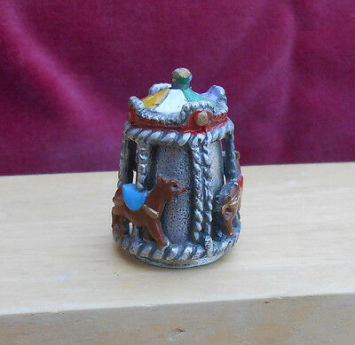 Enesco PEWTER HORSE CAROUSEL SEWING THIMBLE MOVABLE COLORS COLLECTOR