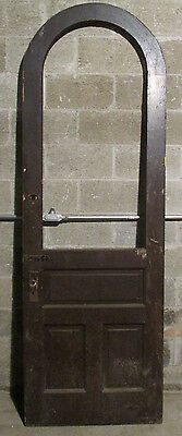 ~ Antique Arch Top Door With Glass Top ~ 32 X 96 ~ Architectural Salvage ~