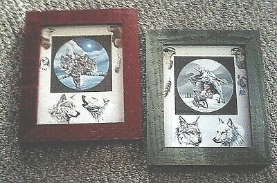 "Set of 2 Wolves & Indians  Photos w/ Frames 12.5"" x 10.5"" x 3/4"""