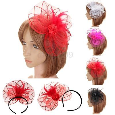 Large Feather Fascinator Headband Clip Hat Wedding Ladies Day Race Royal Ascot