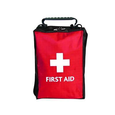 EMPTY FIRST AID KIT BAG WITH COMPARTMENTS - LARGE - RED - 19cm x 12cm x 8cm