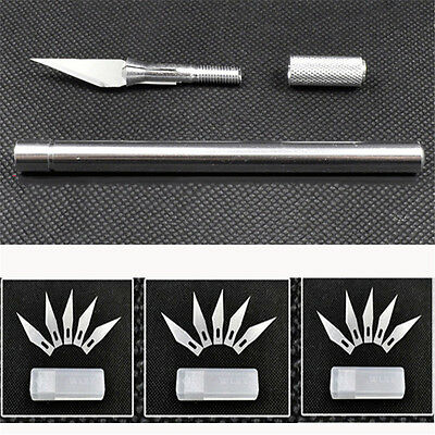 Metal Wood Carving Pen Paper Cutter Sculpting Cutting Hand Craft Tools+5 Blades