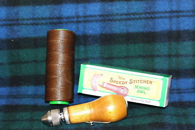 SPEEDY STITCHER Sewing Awl Repair Tool Kit made in US & spool of brown thread