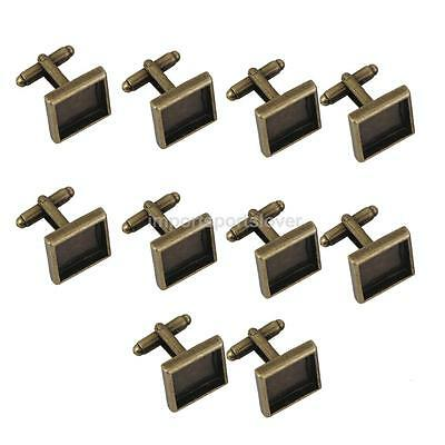 Pack 10 Square Cuff Links Blank Settings Base Pad DIY Jewelry Findings 15mm