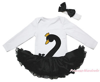 Easter Swan Goose White L/S Bodysuit Girls Black Satin Baby Dress Outfit NB-18M