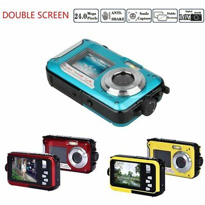 "24MP 2.7"" 1080P Digital Video Camera Underwater Double Screen, UK Free Shipping"