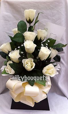 Artificial Silk Flowers Dozen White Rose Gift Bouquet Box Delivered Valentines